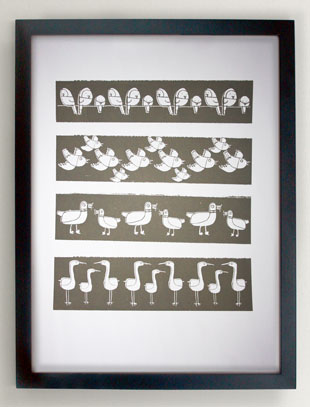 grey stripy birds screen print