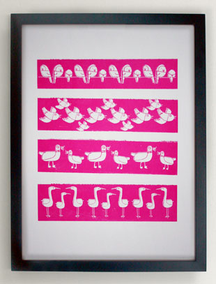Pink stripy birds screen print