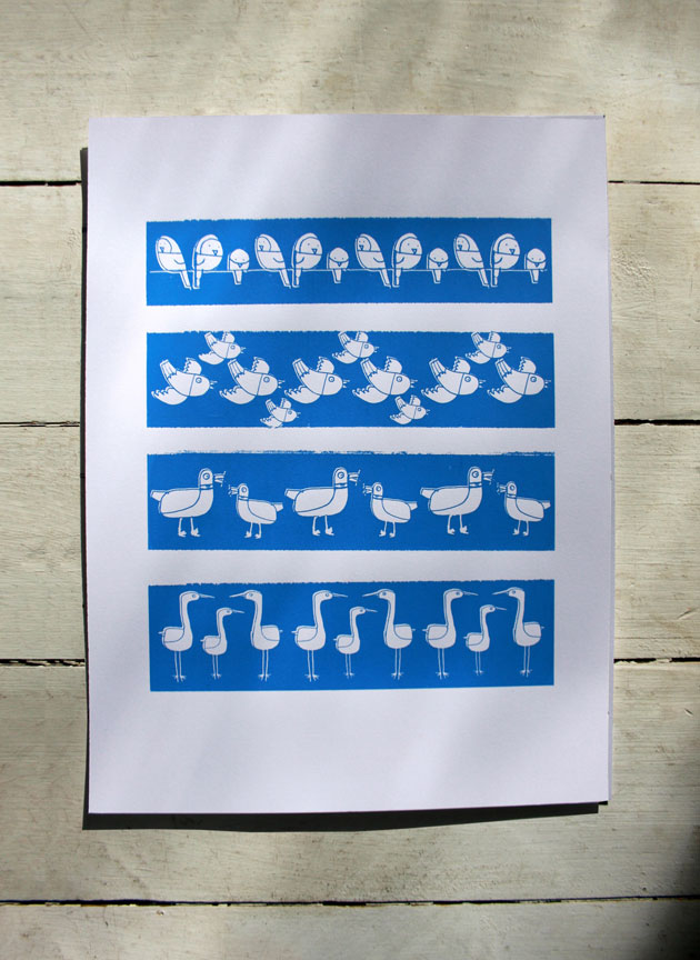 Blue stripy birds screen prints